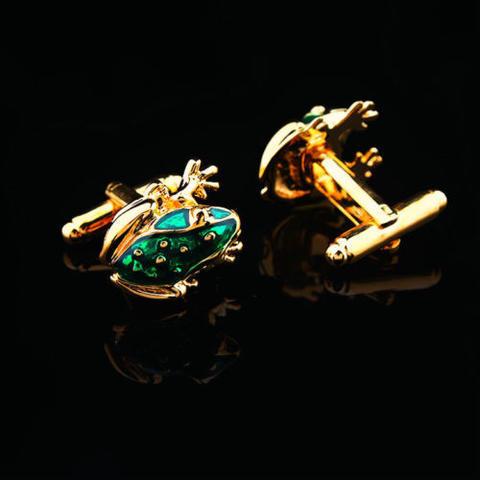 Green Frog Gold Metal Cufflinks - 2