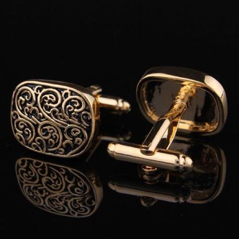 Medieval Ornament Gold Metal Cufflinks - 2
