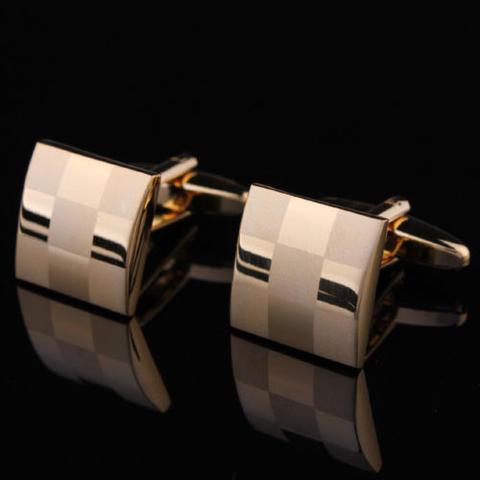 Gold Metal Chessboard Cufflinks - 2