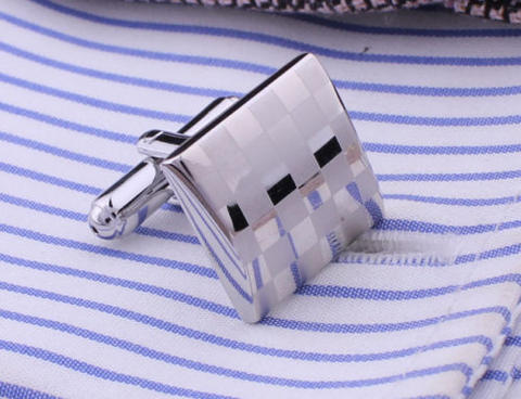 Matted and Shiny Checkerboard Cufflinks - 2