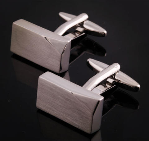 Silver Metal Block Cufflinks - 2