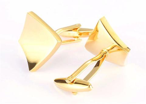 Concave Gold Metal Cufflinks - 2
