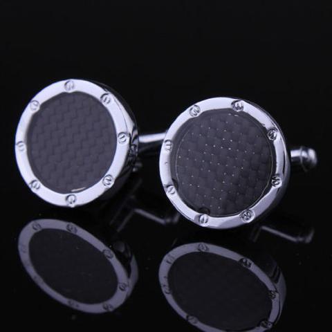 Black Checkered Pattern Round Cufflinks - 2
