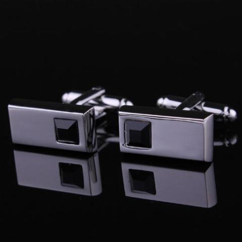 Black Crystal Gun Metal Cufflinks - 2