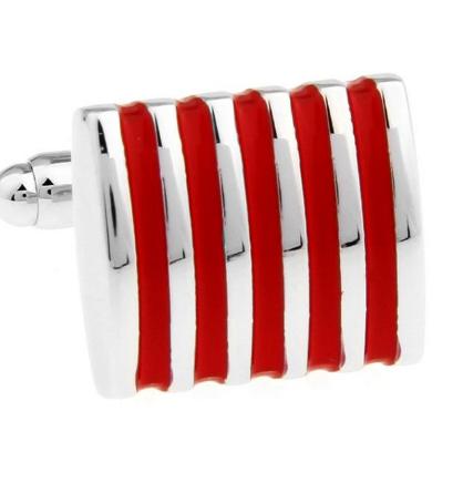 Red Stripes Steel Cufflinks - 2