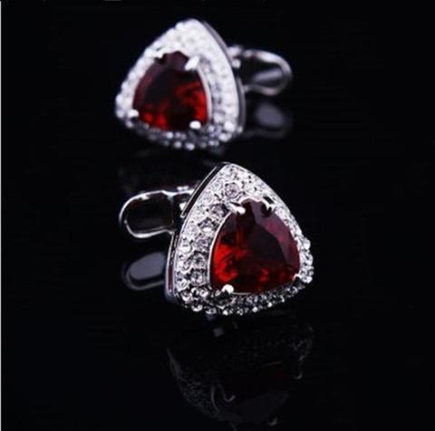 Ruby Triangle Crystal Cufflinks - 2