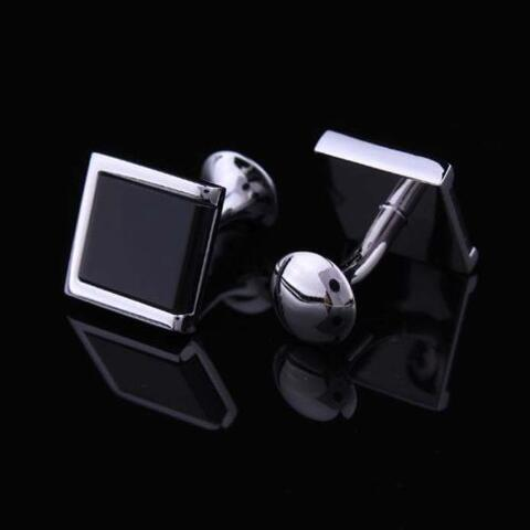 Stylish Black Square Cufflinks - 2