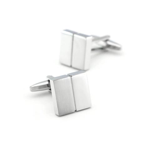 Silver cufflinks with stripe - 2