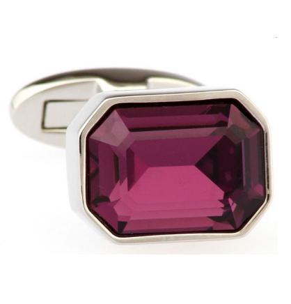 Faceted Purple Crystal Hexagonal Cufflinks - 2