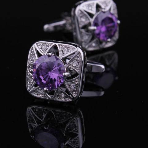 Violet Crystal Star Cufflinks - 2