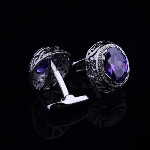 Violet Crystal Circular Ornament Cufflinks - 2