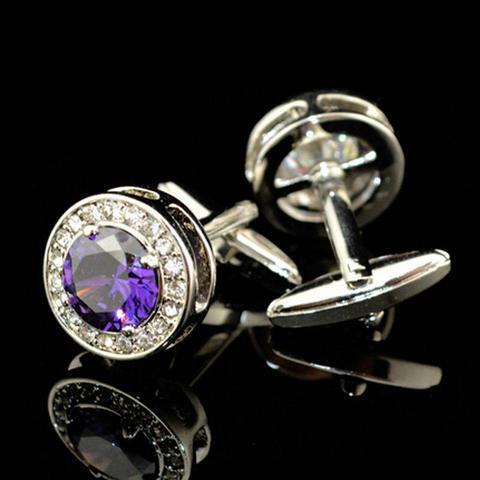 Luxury Violet Round Crystal Cufflinks - 2
