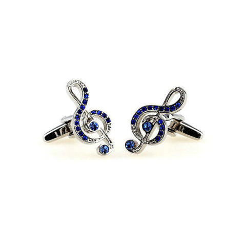 Treble Clef Blue Stones Cufflinks - 2