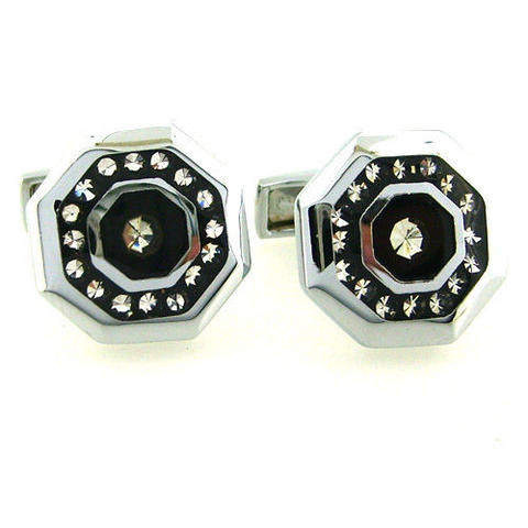 Octagonal Crystals Steel Cufflinks - 2