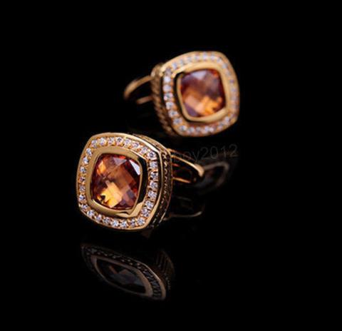 Vintage Amber Crystal Cufflinks - 2