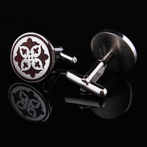 Burgundy Shield Cufflinks - 2