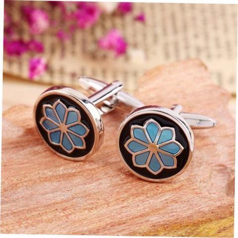 Blue Flower Round Cufflinks - 2