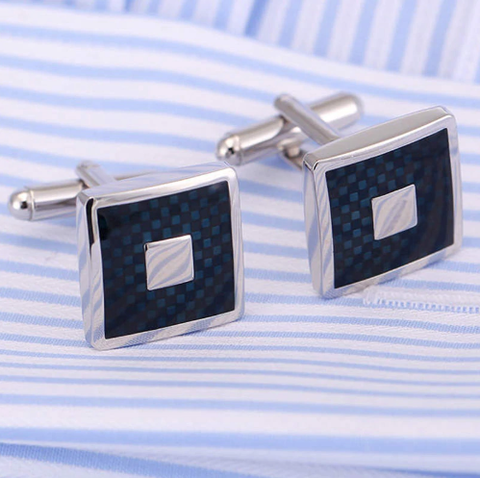 Hexagonal Blue Spiral Cufflinks - 2