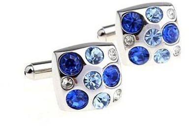 Big Blue Swarowski Element Cufflinks - 2