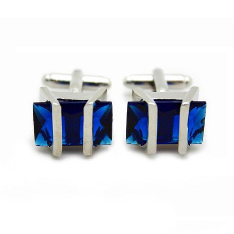 Barred Blue Crystal Cufflinks - 2