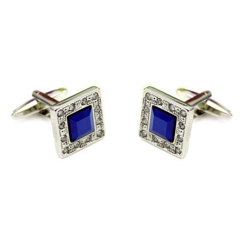 Luxury Deep Blue Crystal Cufflinks - 2