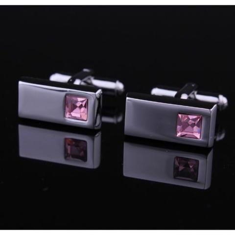 Light Violet Crystal Dark Metal Cufflinks - 2