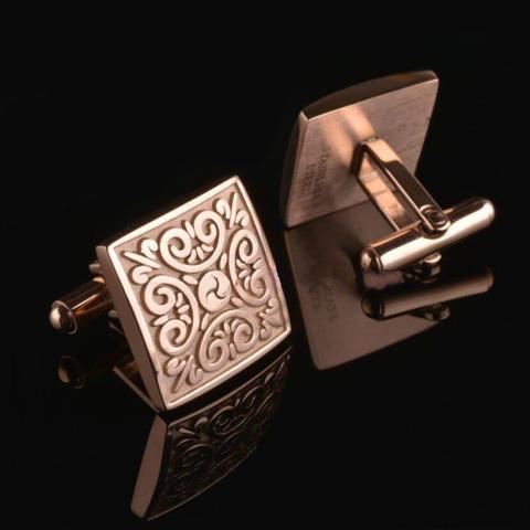 Bronze Ornament Square Cufflinks - 2