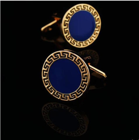 Blue Round Greek Ornament Cufflinks - 2