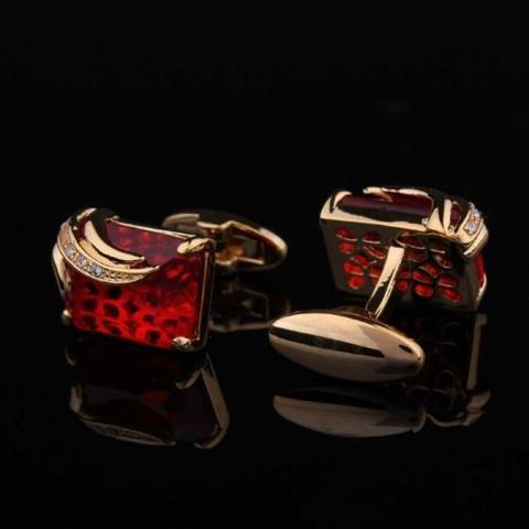Faceted Ruby Crystal Gold Metal Cufflinks - 2