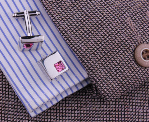 Stylish Violet Crystal Cufflinks - 2