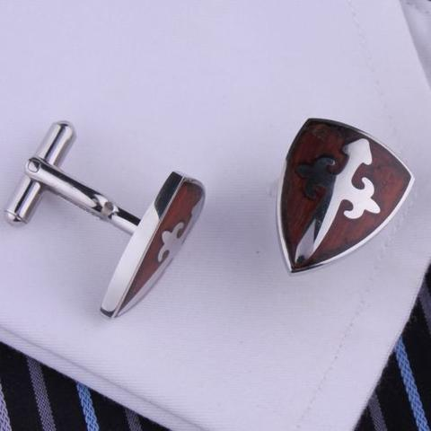 Medieval Burgundy Shield Cufflinks - 2