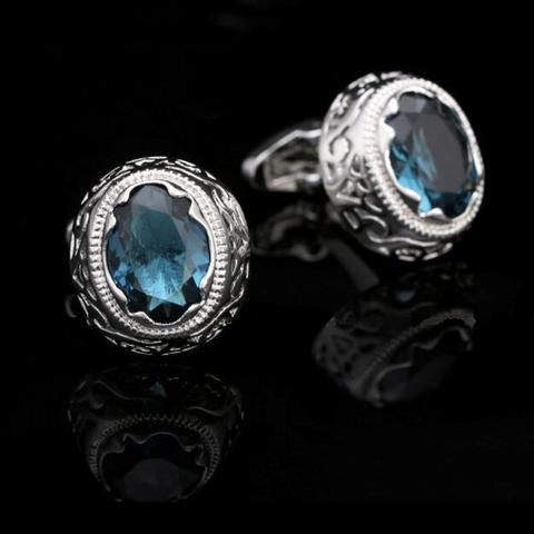 Light Blue Crystal Circular Ornament Cufflinks - 2