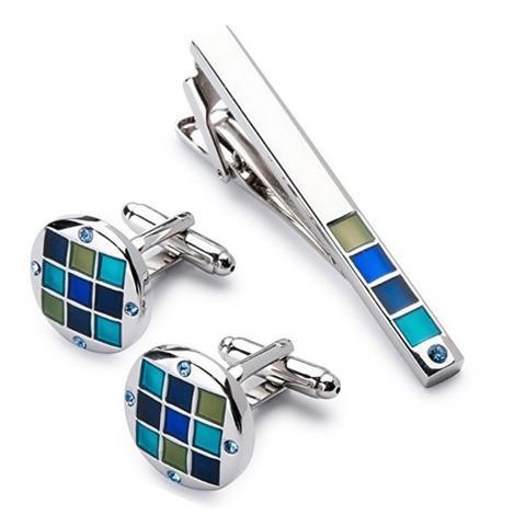 Cufflinks with blue-mosaic tie clip - 2