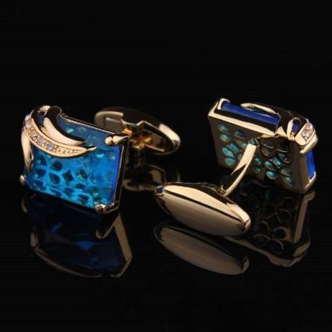 Turquoise Crystal Elephant Cufflinks - 2