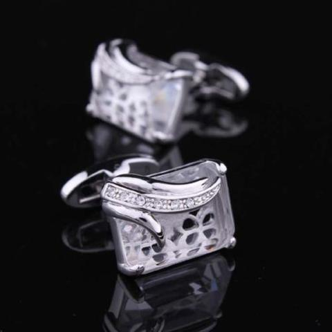 Big Clear Crystal Cufflinks - 2