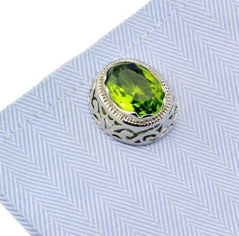 Green Crystal Circular Ornament Cufflinks - 2