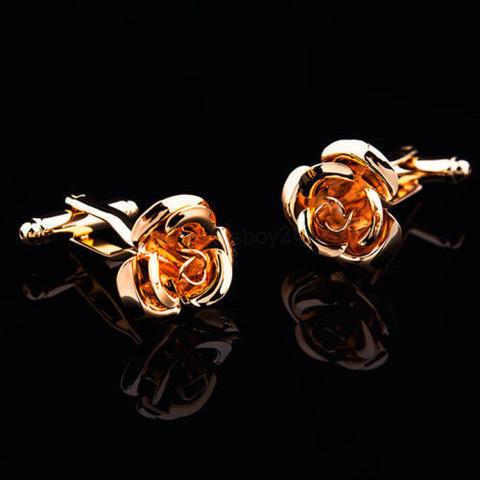 Rose Bloom Gold Metal Cufflinks - 2