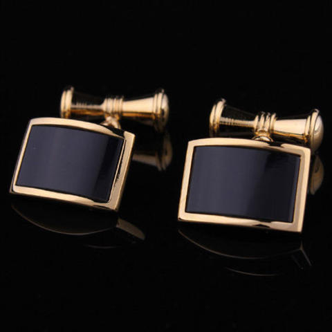 Vintage Gold Metal Obsidian Cufflinks - 2