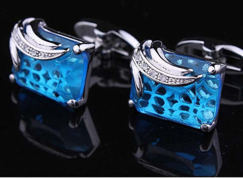 Faceted Turquoise Crystal Cufflinks - 2