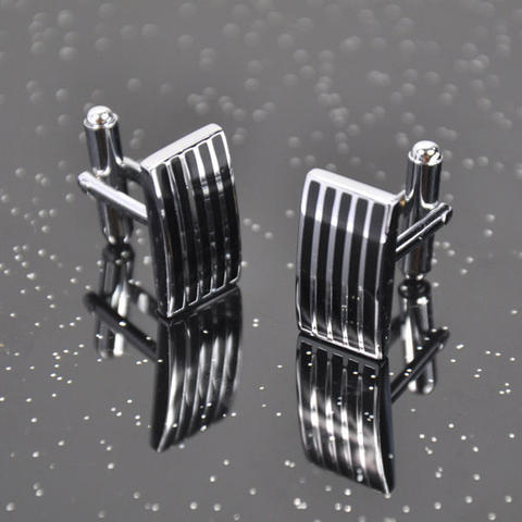 Steel Black Stripes Cufflinks - 2