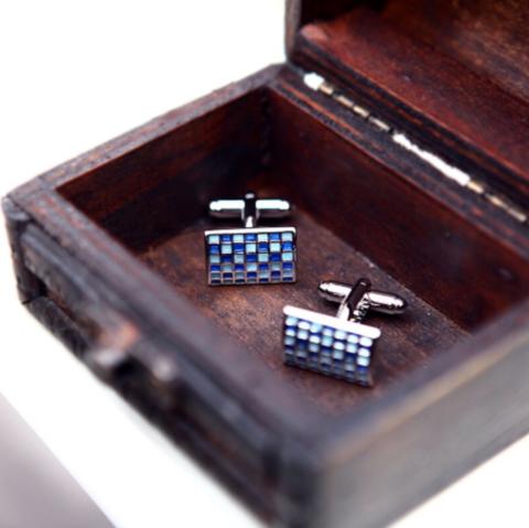 Blue mosaic cufflinks - 3