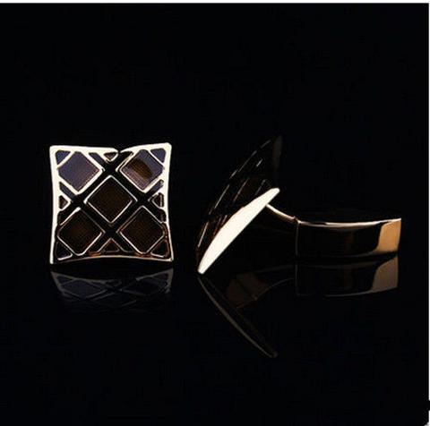 Luxury Black Gold Metal Grid Cufflinks - 3