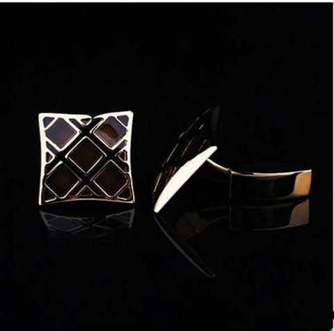 Luxury Black Gold Metal Grid Cufflinks - 3