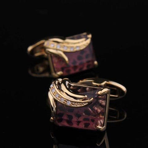 Faceted Dark Violet Crystal Cufflinks - 3