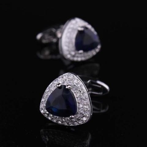 Navy Blue Triangle Crystal Cufflinks - 3