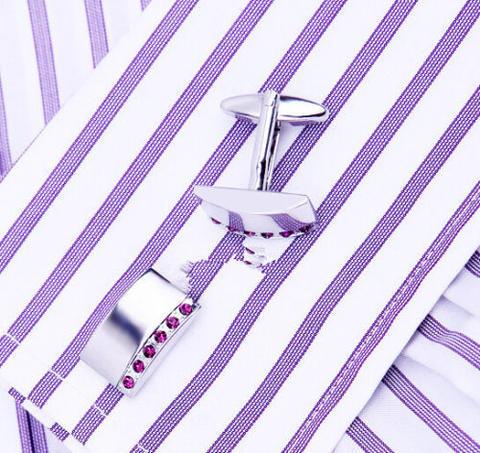 Fine Purple Crystal Line Cufflinks - 3