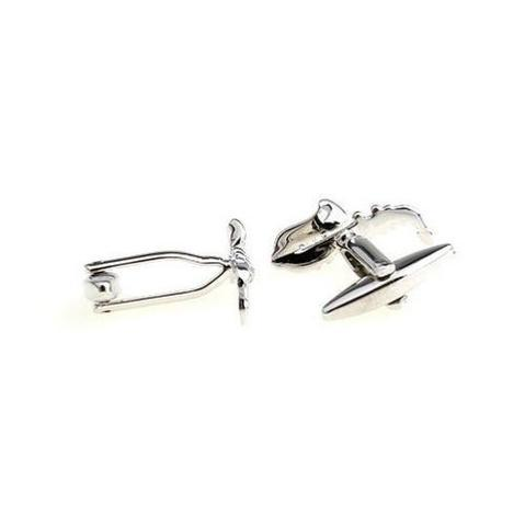 Silver Metal Saxophone Cufflinks - 3