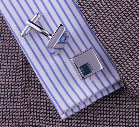 Stylish Blue Crystal Cufflinks - 3