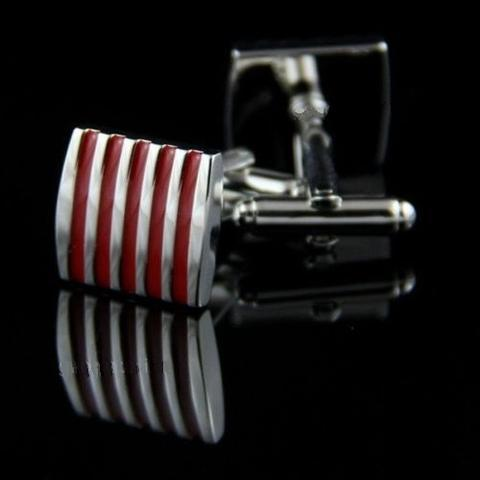 Red Stripes Steel Cufflinks - 3