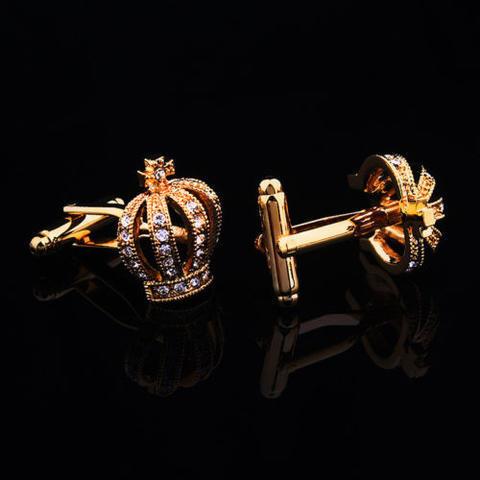 Luxury Royal Crown Blue Crystal Cufflinks - 3